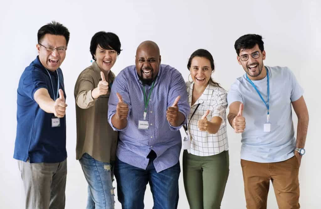 Cross-cultural team working together